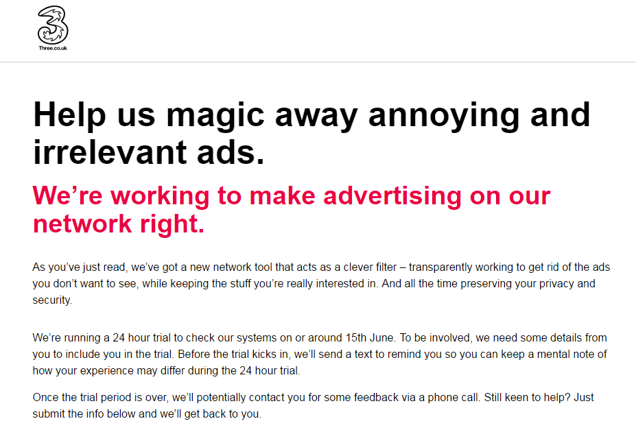 3 UK ad block trial